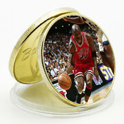 Holiday Gift Michael Jordan Commemorative Lucky Gold Plated Metal Coin