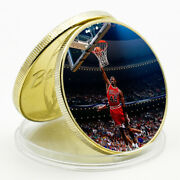 2021 New Year Gift Michael Jordan Commemorative Lucky Gold Plated Metal Coin