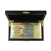50pcs 100 Trillion Dollar Zimbabwe 24k Gold Foil Banknote With Box For Christmas