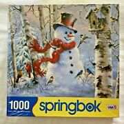 Springbok Winter Friends / Snowman And Birds 1000 Pieces New Factory Sealed