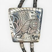 Tommy Singer Native American Sterling Silver 925 Eagle Sunface Large Bolo Tie