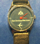 Vtg American Airlines On-time Machine Hong Kong Watch Calf Leather West Germany