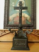 Antique Standing Crucifix Cross Sick Call Box Nicely Detailed 22