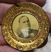 Campaign Medal William Mckinley President Inaugurated Souvenir Shell Card Photo