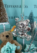 """Tiffanyandco Bear Ornament Rattle Sterling Silver 2"""" W Pouch Christmas Shower Gift"""