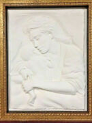Caring By Bill Mack-b.1944-large Wall Sculpture-white-signed-new Frame-coa