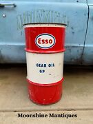 Vintage 1960's Esso 16 Gal. Grease Drum - Mancave Trash Can - Gas And Oil