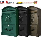 Large Vintage Mailbox Wall Mount Post Box Outdoor Locking Letter Post Box Mail @