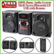 100w Home Audio System Shelf Stereo Bluetooth Cd Usb With Remote
