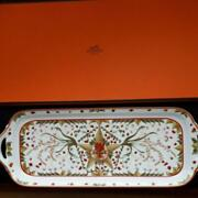 Hermes Pythagore Berry Long Cake Plate Tableware Dish Porcelain Ornament W/box