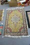 Vintage Finely Hand Knotted Wool Oriental Tab Rug 3'3 X 4'10 Yellow Medallion