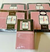 Nos Nwt Vintage Twin Sheet Sets Pillowcases Lot Bunk Or Two Twin Beds Pink Usa