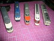Lot Of 5 Vintage Antique Metal Japanese Model Train Cars 1/120 To 1/160 Scale