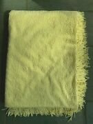 Vintage Striped Pattern Chenille Lightweight Twin Size Bedspread Fringed Yellow