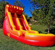 Pvc Vinyl Inflatable Water Slide 15ft Volcano Red Wave Slide With 1hp Blower