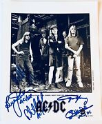 Ac/dc Group Signed Photo Angus Malcolm Young Brian Phil Rudd Ac Dc Epperson Loa