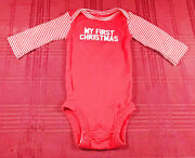 Carters Newborn Baby My First Christmas One Piece Bodysuit Red White Stripes Nb