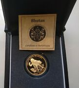 1996 Bhutan Gold 1 Oz. 10,000 Ngultrum Snow Leopard Proof With Box And Coa