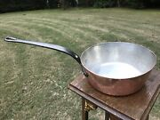 Vintage 9.5 Dehillerin 2mm Copper Splayed Saute Pan Tin Lined