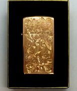 Rare Vtg 1999 Nib Western Floral Engraving Red Gold Plated Slim Zippo Lighter