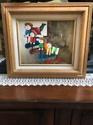 J. Roybal Signed Oil On Canvas Four Kids On Scooters Painting Art Toys Play