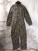 Vtg Rq345r Quilt Lined Winter Coverall Duck Canvas Frog Camo Usa Made M