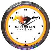 Ford Mustang Since 1964 Orange Neon Clock 15x15 8must2