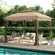 Outdoor Gazebo Brown Pop Up Patio Canopy 11 X 11ft Mosquito Netting Panels Steel