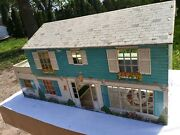 Vintage Tin Metal Blue 2 Story Doll House No Figures Or Pieces