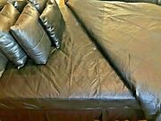 Soft Sheep Nappa Real Leather Queen Size Bed Set With Four Pillow Covers
