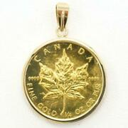 Maple Leaf 1 4oz Coin 24k Yellow Gold 18k Pendant Top Free Shipping Used