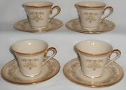 Set 4 Lenox Castle Garden Pattern Cups And Saucers Made In Usa
