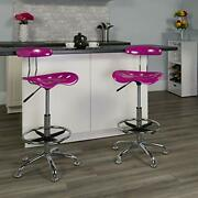 Flash Furniture Vibrant Candy Heart And Chrome Drafting Stool With Tractor Seat