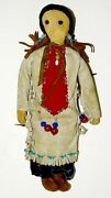 Antique Buckskin Face Beaded Leather Native American Indian Squaw Doll And Papoose