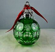 Waterford Annual Green Cased Crystal Ball Xmas Christmas Tree Ornament