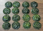 16 -old Bakelite Catalin Carved Swirl Green Buttons Earrings Rings Round Pieces