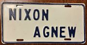 1972 Nixon - Agnew Stamped Steel Political License Plate