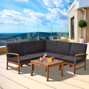 6-piece Wooden Patio Conversation Set With Grey Cushions 5 Chairs And A Coffee