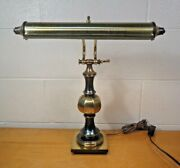 Vtg Brass Bankers Desk Piano Lamp 17 Tall Possibly Stiffel 2 Bulb Adjustable