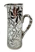 Tall American Floral Silver Overlay Pitcher C1920