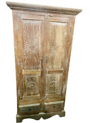 Holistic Antique Cabinet Tall Armoire Sunrays Flral Carved Light Teak Clearance