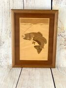 """Vtg Nelson's Great American Wood Marquetry Bass 12.75"""" X 9.75"""" Excellent"""