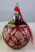 Waterford 2015 Red Cased Crystal Ball Xmas Christmas Tree Ornament