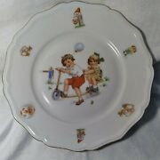 Johann Haviland Bavaria Germany Plate Children Playing With Scooter Gold Trim