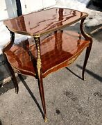 French Style Gilt Bronze Mounted Parquetry Two Tier Tea Table