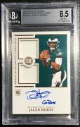 2020 Encased Jalen Hurts Rookie Dual Swatch On Card Auto Bgs 8.5 Nm-mt 42/50 Ssp