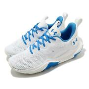 Under Armour Ua Spawn 3 White Blue Men Basketball Shoes Sneakers 3024777-100