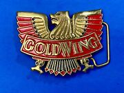 Honda Gold Wing Mens Vintage Red Belt Buckle Motorcycle Solid Brass Goldwing