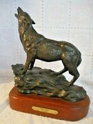 Tom Moss Western Bronze Gray Wolf Figure Night Song 16/30provenence Papers