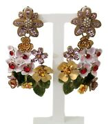 Dolce And Gabbana Earrings Gold Crystal Floral Filigree Bouquet Dangling Clip-on